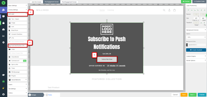 Design Canvas: Guide to add Subscribe now layer