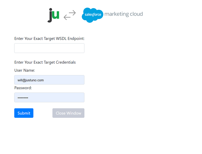 Login view for Salesforce marketing cloud
