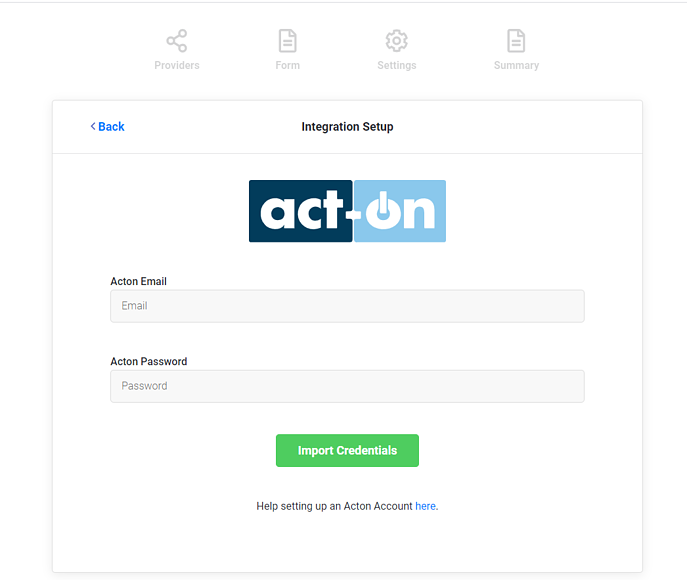 Enter Act-On Credentials