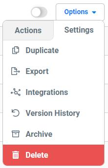 Options menuSettings