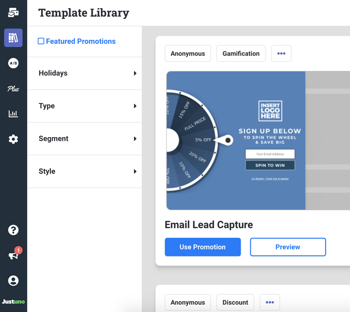 Template Library Page