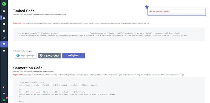 Justuno embed code
