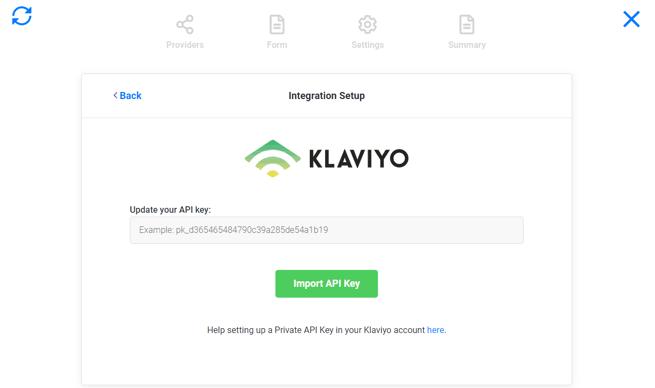 enter Klaviyo API