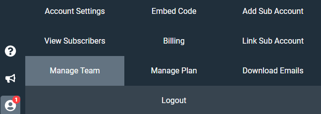 Manage team setting