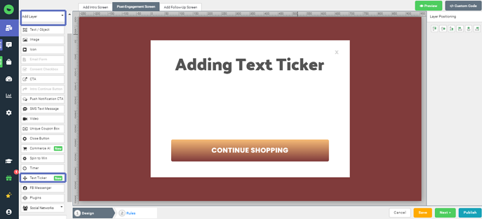 Add Animation on promotions Justuno with Text Ticker