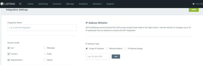 Listrak Integration Access Levels Page