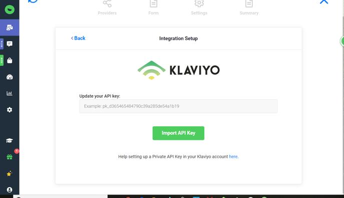 Enter your Klaviyo integration key