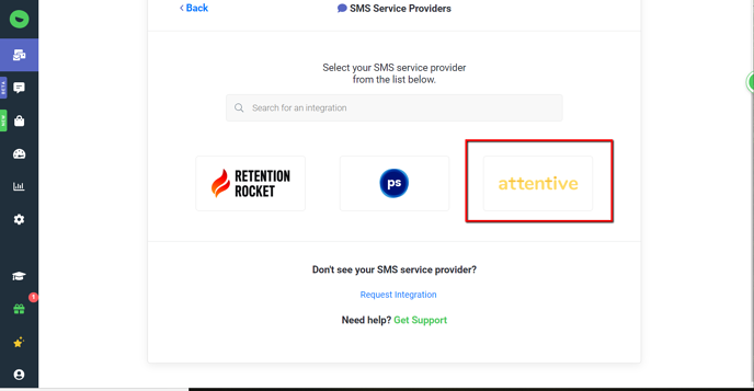 SMS Service Provider View