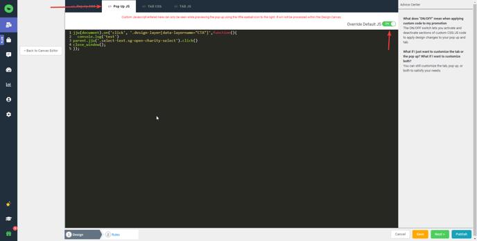 custom javascript click function