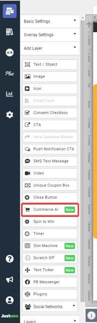 Commerce AI option on the Design Cavas