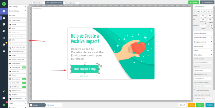 call to action design layer
