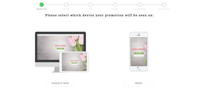 First step of Justuno promotion builder