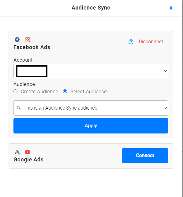 selecting newly created audience in fb-1