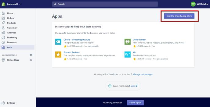 Shopify Dashboard: Visit Shopify App Store