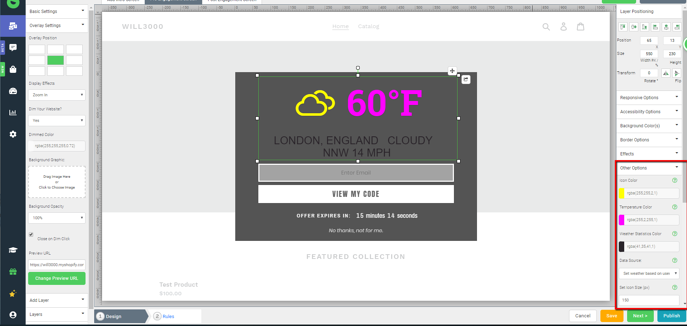The Justuno design canvas targeting the options panel for the weather plugin