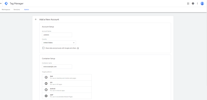step_1log in to google tag manager
