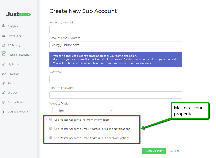 How to Create Sub Accounts