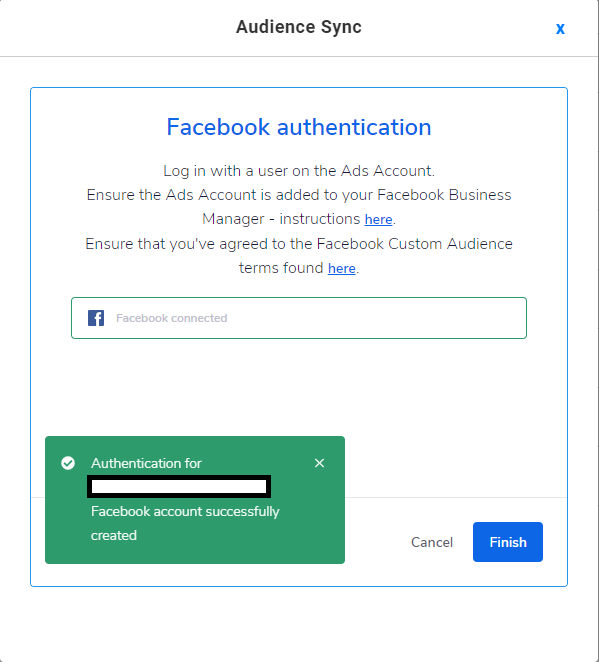 successfully linked fb