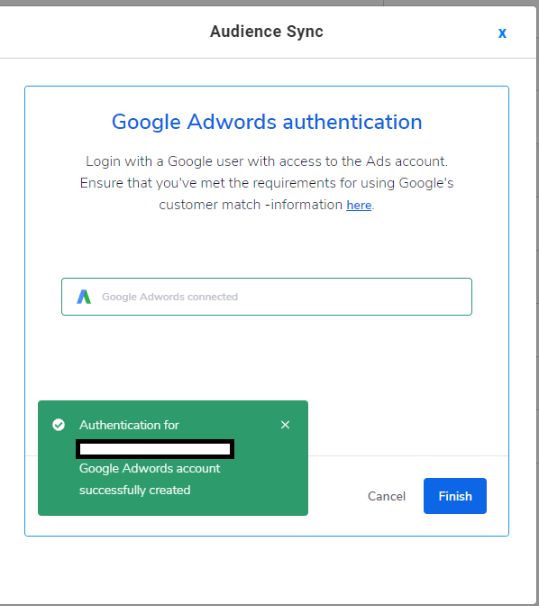 successfully linking to a google ads account