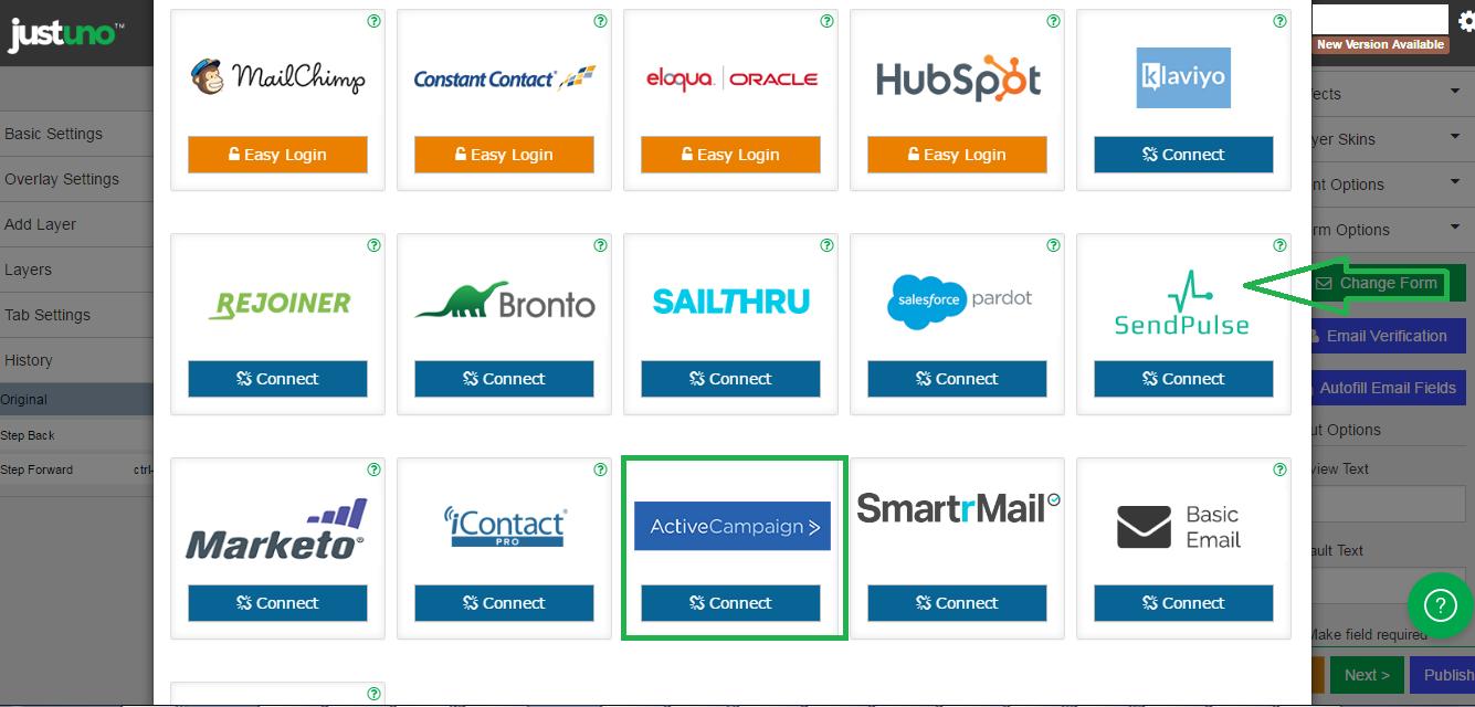 Choose ActiveCampaign integration
