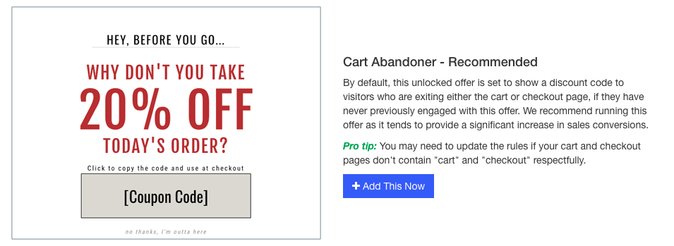 cart abandoner promo