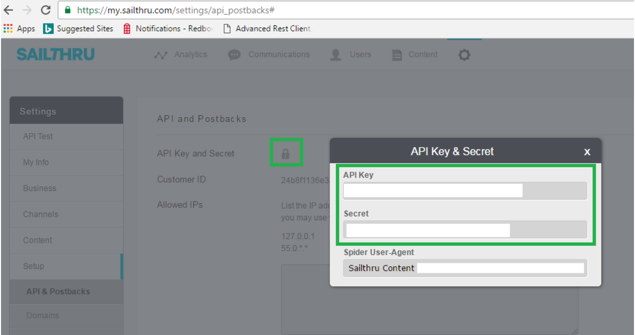 API Key and Secret
