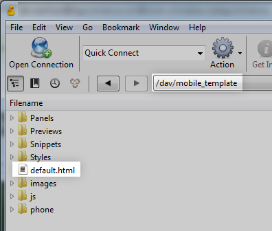 upload to mobile_template directory