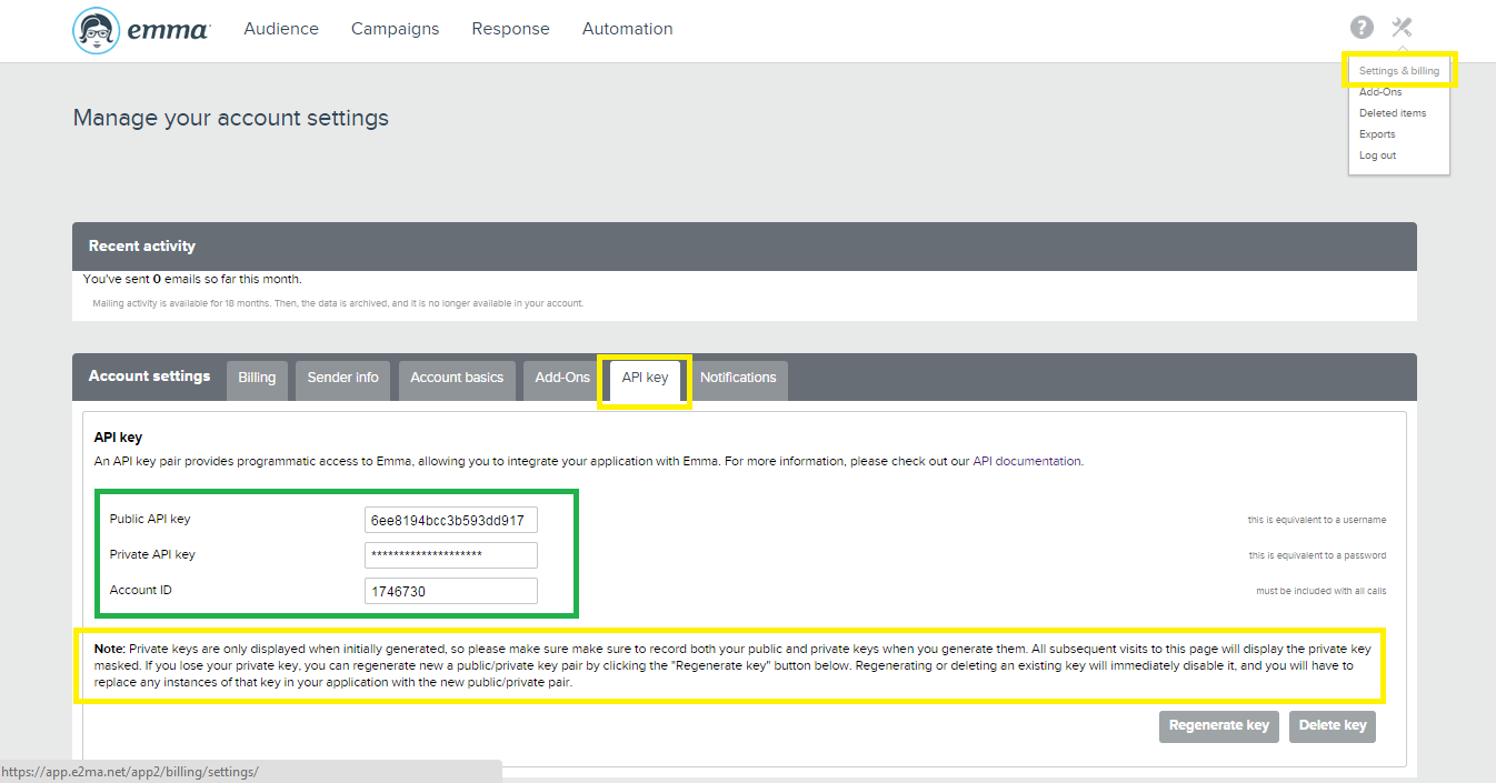 save API info
