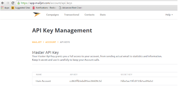copy API key and API secret