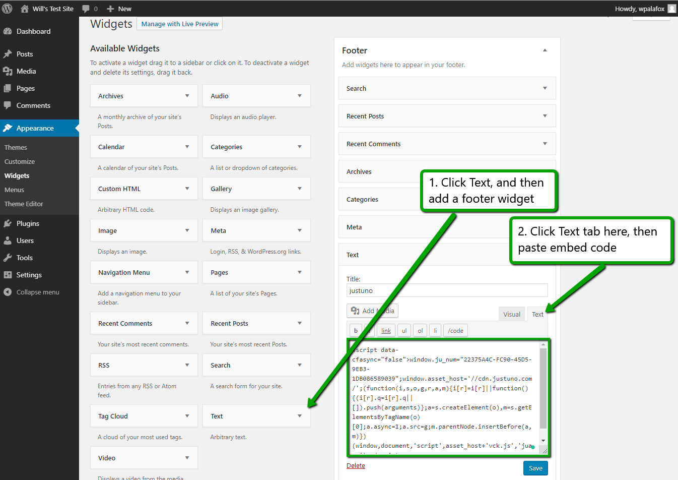 Wordpress: Appearance section